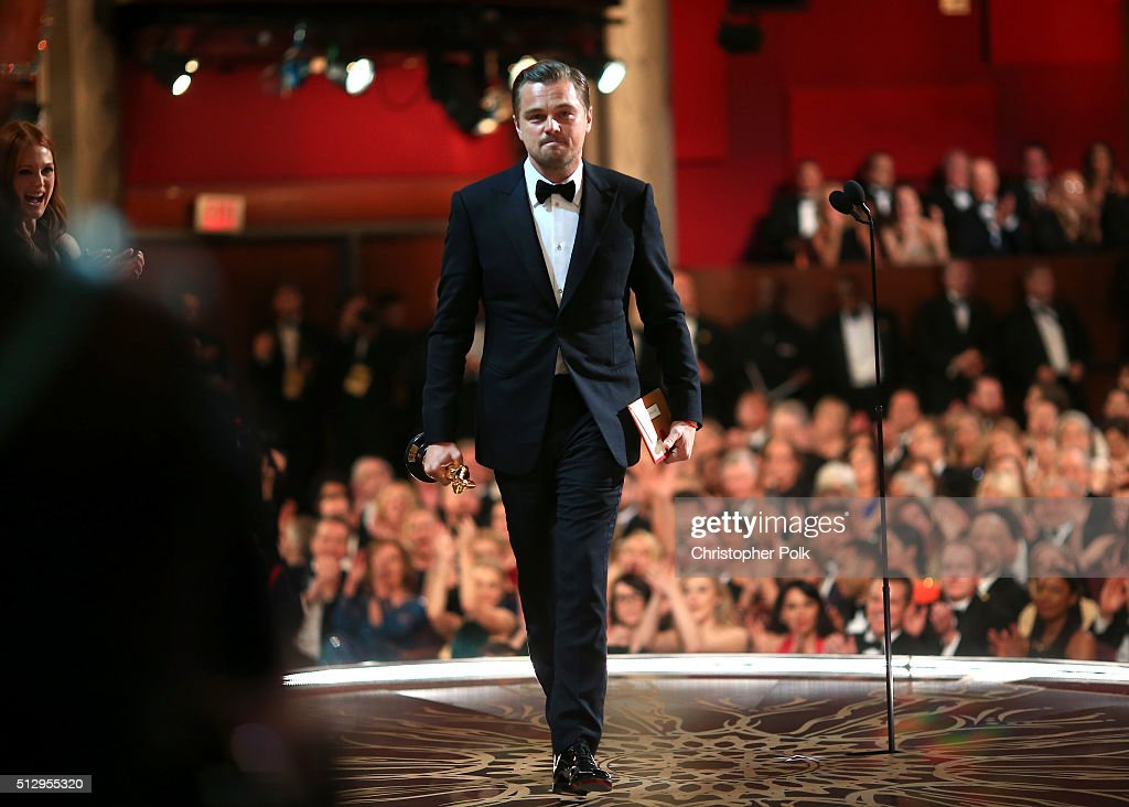 Actor <a gi-track='captionPersonalityLinkClicked' href=/galleries/search?phrase=Leonardo+DiCaprio&family=editorial&specificpeople=201635 ng-click='$event.stopPropagation()'>Leonardo DiCaprio</a> accepts the Best Performance by an Actor in a Leading Role award for 'The Revenant' onstage during the 88th Annual Academy Awards at Dolby Theatre on February 28, 2016 in Hollywood, California.