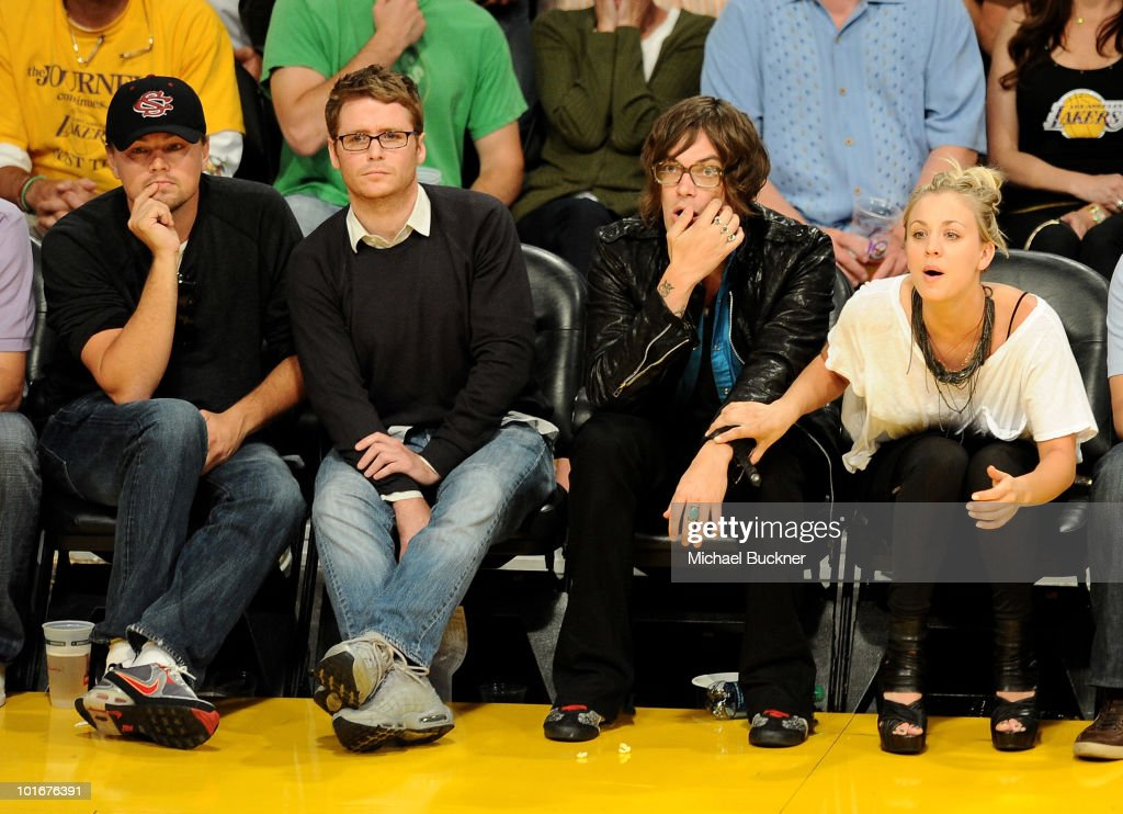 Actor Leonardo DiCaprio, actor Kevin Connolly, singer Christopher French and actress Kaley Cuoco attend Game 2 of the NBA Finals between the Los Angeles Lakers and Boston Celtics at the Staples Center on June 6, 2010 in Los Angeles, California.