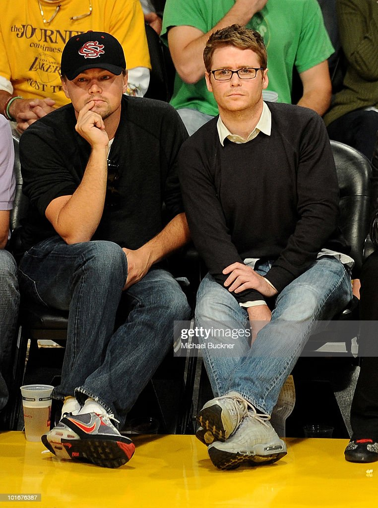 Actor Leonardo DiCaprio (L) and actor Kevin Connolly attend Game 2 of the NBA Finals between the Los Angeles Lakers and Boston Celtics at the Staples Center on June 6, 2010 in Los Angeles, California.