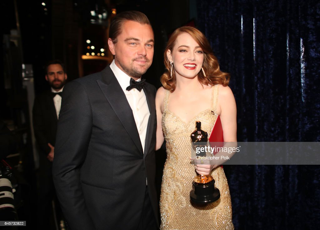 Actor Leonardo DiCaprio (L) and actress Emma Stone, winner of Best Actress for 'La La Land' pose backstage during the 89th Annual Academy Awards at Hollywood & Highland Center on February 26, 2017 in Hollywood, California.