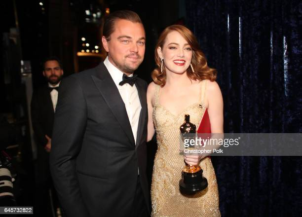 Actor Leonardo DiCaprio and actress Emma Stone winner of Best Actress for 'La La Land' pose backstage during the 89th Annual Academy Awards at...