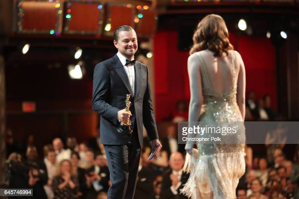 Actor Leonardo DiCaprio and actress Emma Stone winner of Best Actress for 'La La Land' onstage during the 89th Annual Academy Awards at Hollywood...