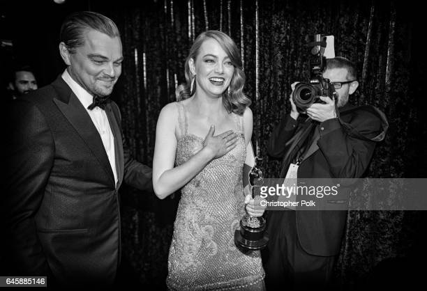 Actor Leonardo DiCaprio and actress Emma Stone winner of Best Actress for 'La La Land' backstage during the 89th Annual Academy Awards at Hollywood...