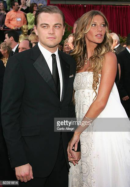 Actor Leonardo DiCaprio and Actress Gisele Bundchen arrives at the 77th Annual Academy Awards at the Kodak Theater on February 27 2005 in Hollywood...