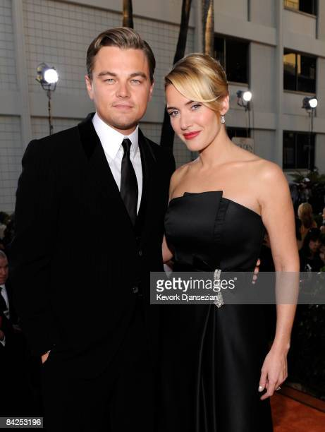 Actor Leonardo Dicaprio and actress Kate Winslet arrive at the 66th Annual Golden Globe Awards held at the Beverly Hilton Hotel on January 11 2009 in...