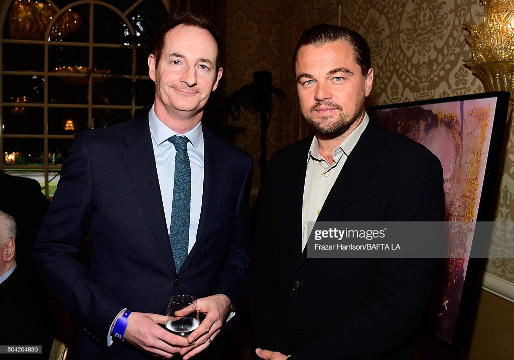 Actor Leonardo DiCaprio (R) and BAFTA LA Chairman Kieran Breen attend the BAFTA Los Angeles Awards Season Tea at Four Seasons Hotel Los Angeles at Beverly Hills on January 9, 2016 in Los Angeles, California.