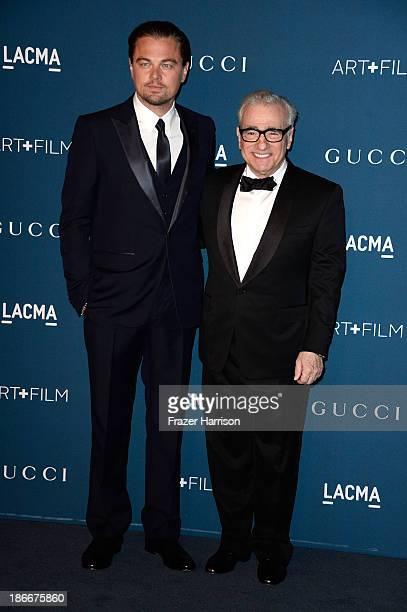 Actor Leonardo DiCaprio and diretor Martin Scorsese arrivs at the LACMA 2013 Art Film Gala on November 2 2013 in Los Angeles California