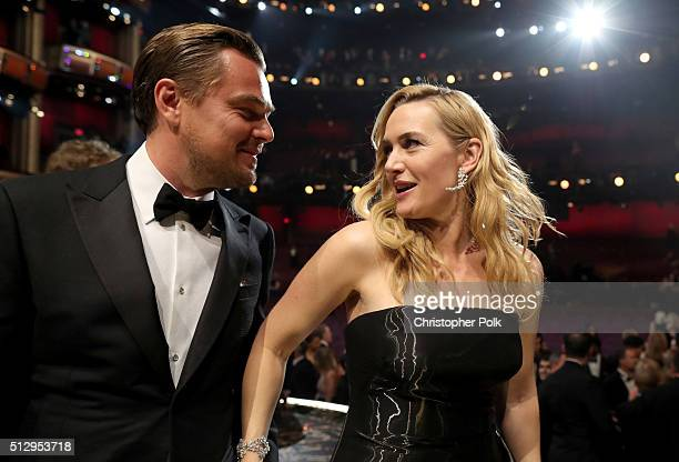 Actor Leonardo DiCaprio and Kate Winslet attend the 88th Annual Academy Awards at Dolby Theatre on February 28 2016 in Hollywood California