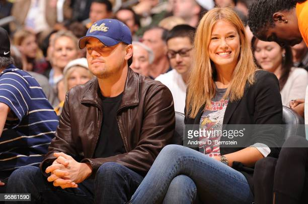 Actor Leonardo DiCaprio and Supermodel Bar Refaeli attend a game between the Orlando Magic and the Los Angeles Lakers at Staples Center on January 18...