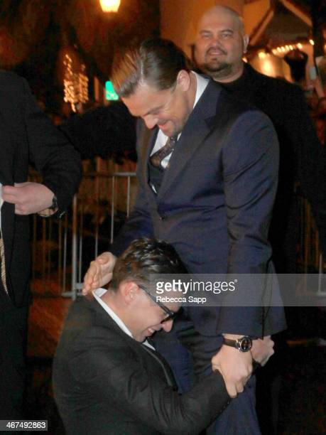 Actor Leonardo DiCaprio and Ukrainian journalist and prankster Vitalii Sediuk at the Cinema Vanguard Award to Martin Scorsese and Leonardo DiCaprio...