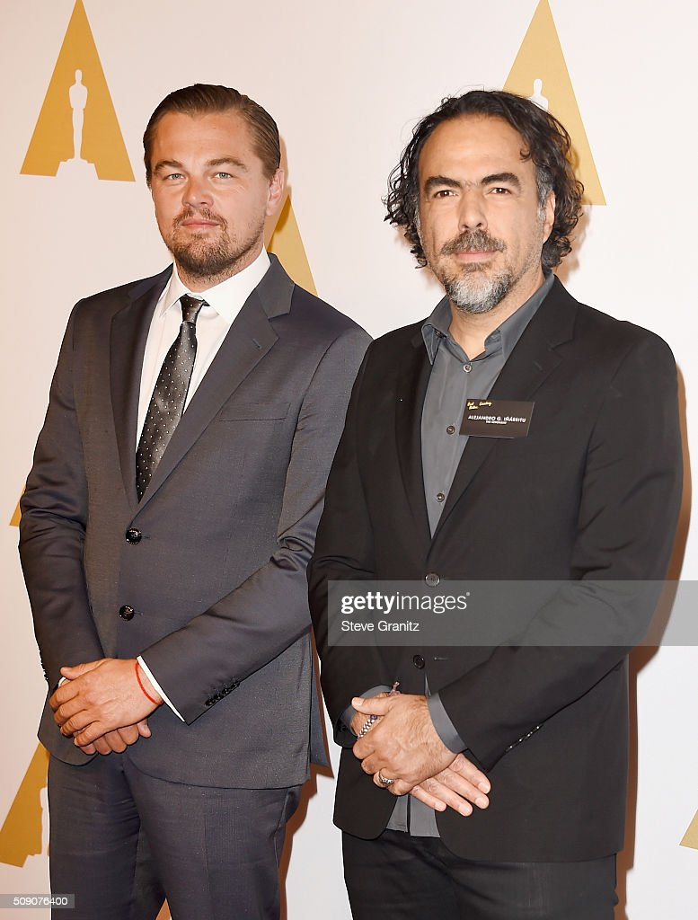Actor <a gi-track='captionPersonalityLinkClicked' href=/galleries/search?phrase=Leonardo+DiCaprio&family=editorial&specificpeople=201635 ng-click='$event.stopPropagation()'>Leonardo DiCaprio</a> (L) and writer/director <a gi-track='captionPersonalityLinkClicked' href=/galleries/search?phrase=Alejandro+Gonzalez+Inarritu&family=editorial&specificpeople=3973546 ng-click='$event.stopPropagation()'>Alejandro Gonzalez Inarritu</a> attend the 88th Annual Academy Awards nominee luncheon on February 8, 2016 in Beverly Hills, California.