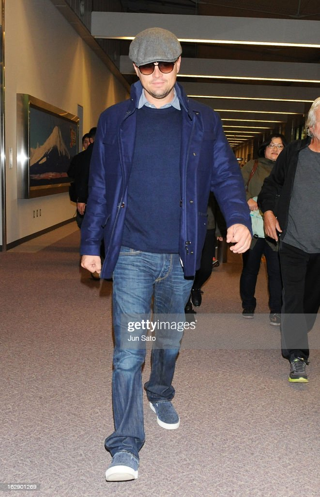 Actor <a gi-track='captionPersonalityLinkClicked' href=/galleries/search?phrase=Leonardo+DiCaprio&family=editorial&specificpeople=201635 ng-click='$event.stopPropagation()'>Leonardo DiCaprio</a> arrives at Narita International Airport on March 1, 2013 in Narita, Japan.