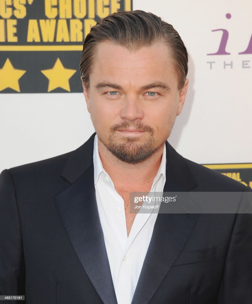 Actor Leonardo DiCaprio arrives at the 19th Annual Critics' Choice Movie Awards at Barker Hangar on January 16, 2014 in Santa Monica, California.