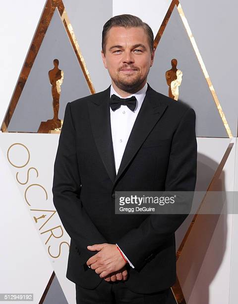 Actor Leonardo DiCaprio arrives at the 88th Annual Academy Awards at Hollywood Highland Center on February 28 2016 in Hollywood California