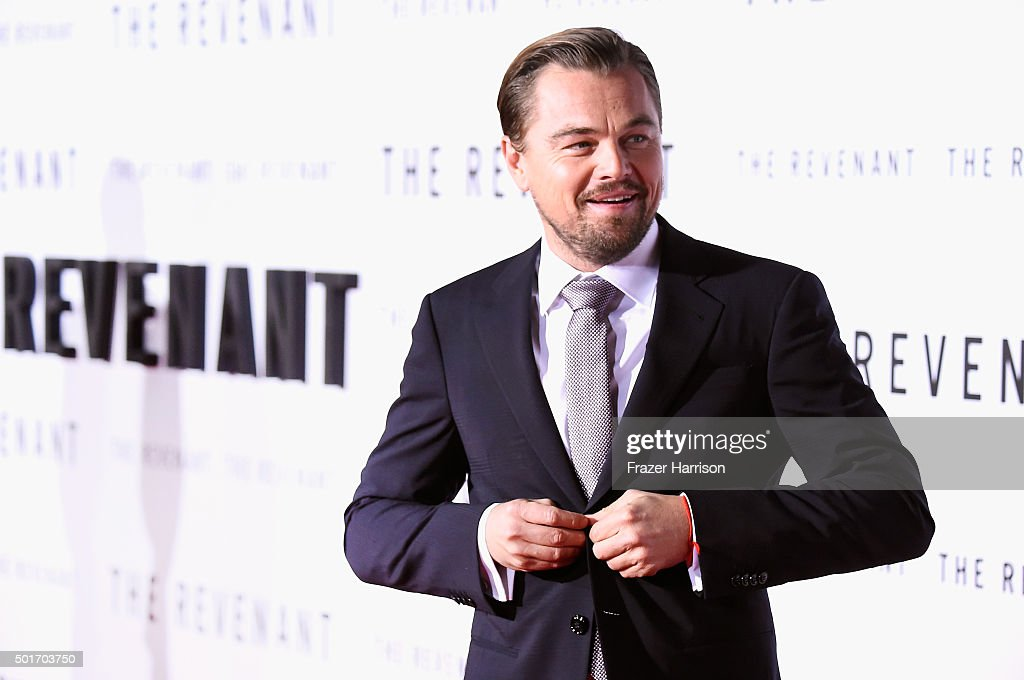 .Actor <a gi-track='captionPersonalityLinkClicked' href=/galleries/search?phrase=Leonardo+DiCaprio&family=editorial&specificpeople=201635 ng-click='$event.stopPropagation()'>Leonardo DiCaprio</a> arrives at the Premiere Of 20th Century Fox And Regency Enterprises' 'The Revenant' at TCL Chinese Theatre on December 16, 2015 in Hollywood, California.