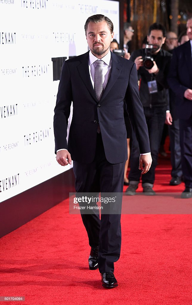 Actor Leonardo DiCaprio arrives at the Premiere of 20th Century Fox and Regency Enterprises' 'The Revenant' at TCL Chinese Theatre on December 16, 2015 in Hollywood, California.