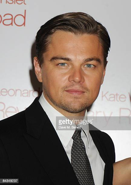Actor Leonardo DiCaprio arrives at the UK Premiere of 'Revolutionary Road' at Odeon Leicester Square on January 18 2009 in London England