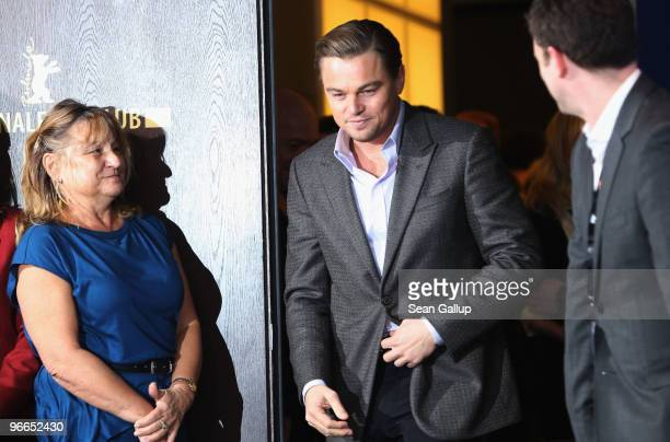 Actor Leonardo DiCaprio arrives next to his mother Irmelin DiCaprio at the 'Shutter Island' Photocall during day three of the 60th Berlin...