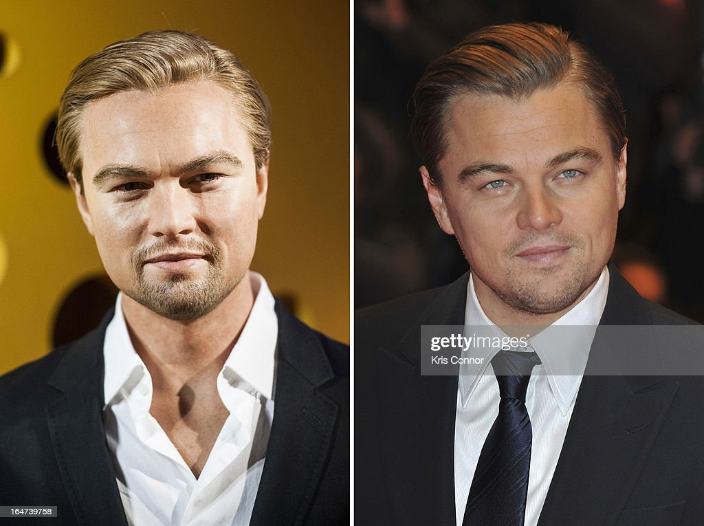 In this composite image a comparison has been made between Leonardo DiCaprio (R) and his waxwork figure. BERLIN, GERMANY - FEBRUARY 13: Actor Leonardo DiCaprio attends 'Shutter Island' Premiere during day three of the 60th Berlin International Film Festival at the Berlinale Palast on February 13, 2010 in Berlin, Germany.