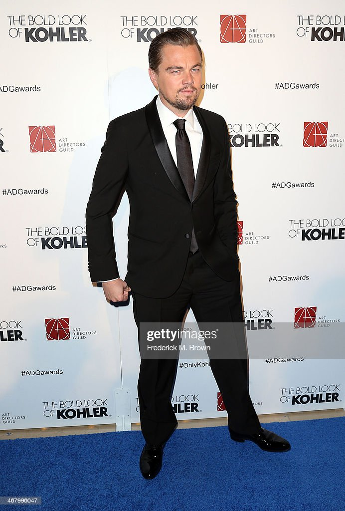 Actor <a gi-track='captionPersonalityLinkClicked' href=/galleries/search?phrase=Leonardo+DiCaprio&family=editorial&specificpeople=201635 ng-click='$event.stopPropagation()'>Leonardo DiCaprio</a> attends the 18th Annual Art Directors Guild Excellence in Production Design Awards at The Beverly Hilton Hotel on February 8, 2014 in Beverly Hills, California.