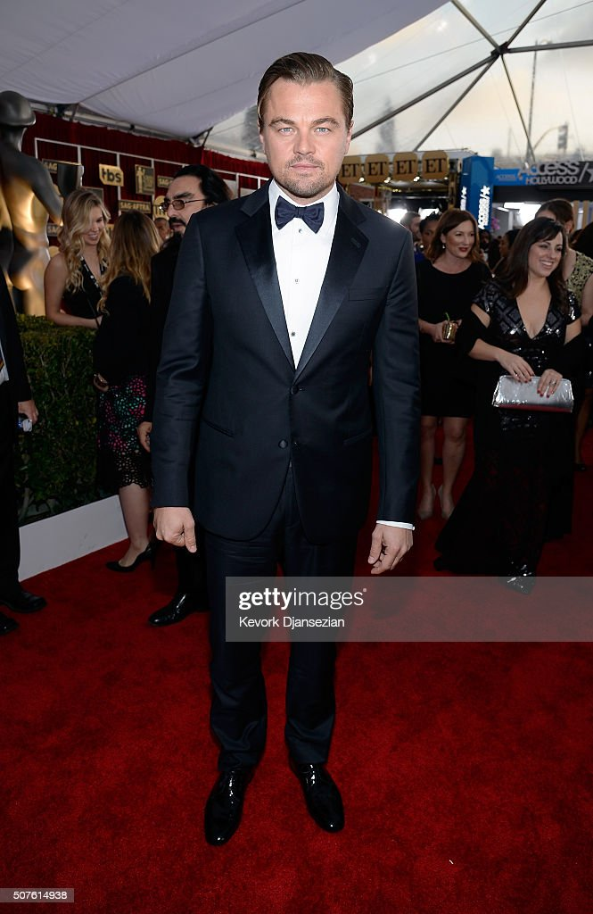 Actor <a gi-track='captionPersonalityLinkClicked' href=/galleries/search?phrase=Leonardo+DiCaprio&family=editorial&specificpeople=201635 ng-click='$event.stopPropagation()'>Leonardo DiCaprio</a> attends the 22nd Annual Screen Actors Guild Awards at The Shrine Auditorium on January 30, 2016 in Los Angeles, California.