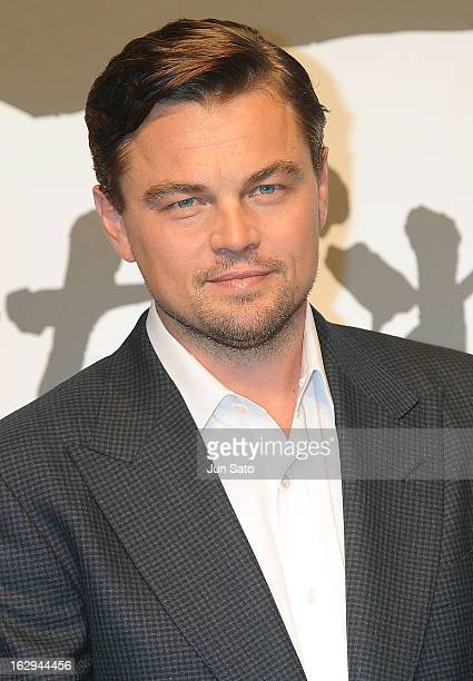Actor Leonardo DiCaprio attends the 'Django Unchained' Press Conference at Midtown Hall on March 2 2013 in Tokyo Japan