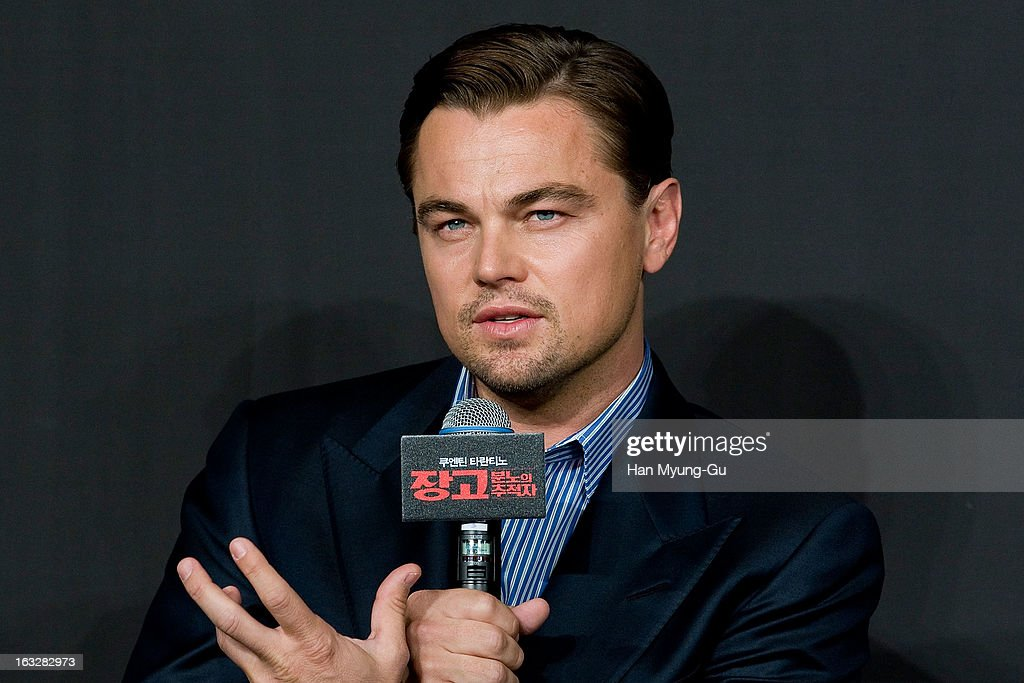 Actor <a gi-track='captionPersonalityLinkClicked' href=/galleries/search?phrase=Leonardo+DiCaprio&family=editorial&specificpeople=201635 ng-click='$event.stopPropagation()'>Leonardo DiCaprio</a> attends the 'Django Unchained' Press Conference at the Ritz Carlton Hotel on March 7, 2013 in Seoul, South Korea. <a gi-track='captionPersonalityLinkClicked' href=/galleries/search?phrase=Leonardo+DiCaprio&family=editorial&specificpeople=201635 ng-click='$event.stopPropagation()'>Leonardo DiCaprio</a> is visiting South Korea to promote his recent film 'Django Unchained' which will be released on March 21 in South Korea.