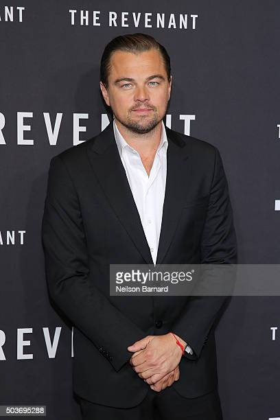 Actor Leonardo DiCaprio attends the New York special screening of 'The Revenant' at the AMC Loews Lincoln Square on January 6 2016 in New York City