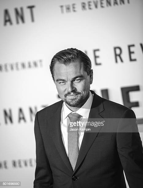 Actor Leonardo DiCaprio attends the premiere of 20th Century Fox's 'The Revenant' at TCL Chinese Theatre on December 16 2015 in Hollywood California