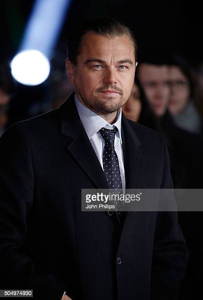 Actor Leonardo DiCaprio attends UK Premiere of 'The Revenant' at Empire Leicester Square on January 14 2016 in London England