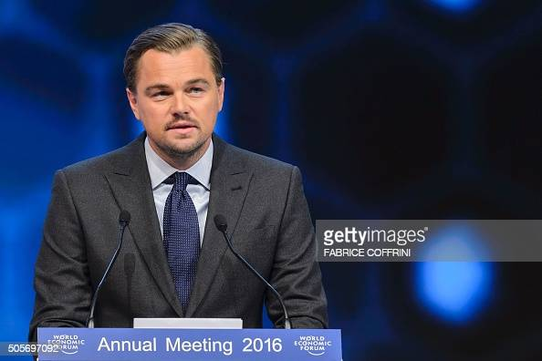 US actor Leonardo DiCaprio delivers a speech after he was awarded during the 22nd Annual Crystal Awards at the opening of the World Economic Forum in...