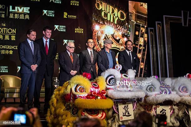 Actor Leonardo DiCaprio from left billionaire James Packer cochairman of Melco Crown Entertainment Ltd film director Martin Scorsese billionaire...