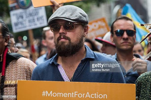 Actor Leonardo DiCaprio participates in the People's Climate March on September 21 2014 in New York City The march which calls for drastic political...