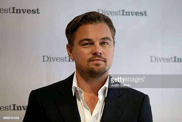 Actor Leonardo DiCaprio poses for a photo following a DivestInvest new conference on September 22 2015 in New York City Leonardo DiCaprio joined...
