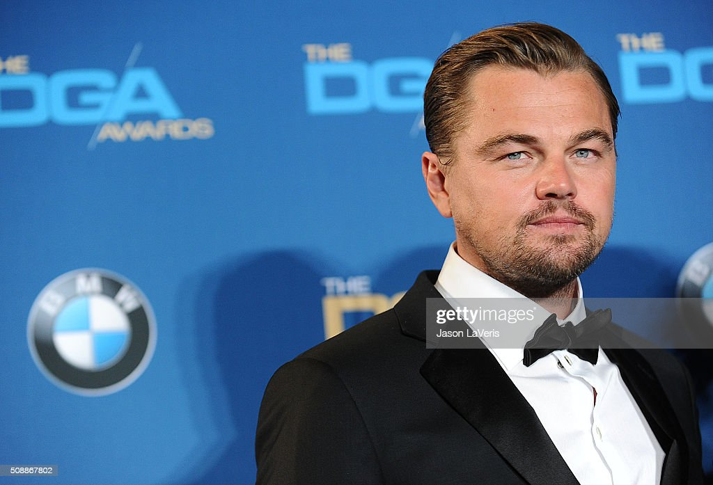 Actor Leonardo DiCaprio poses in the press room at the 68th annual Directors Guild of America Awards at the Hyatt Regency Century Plaza on February 6...