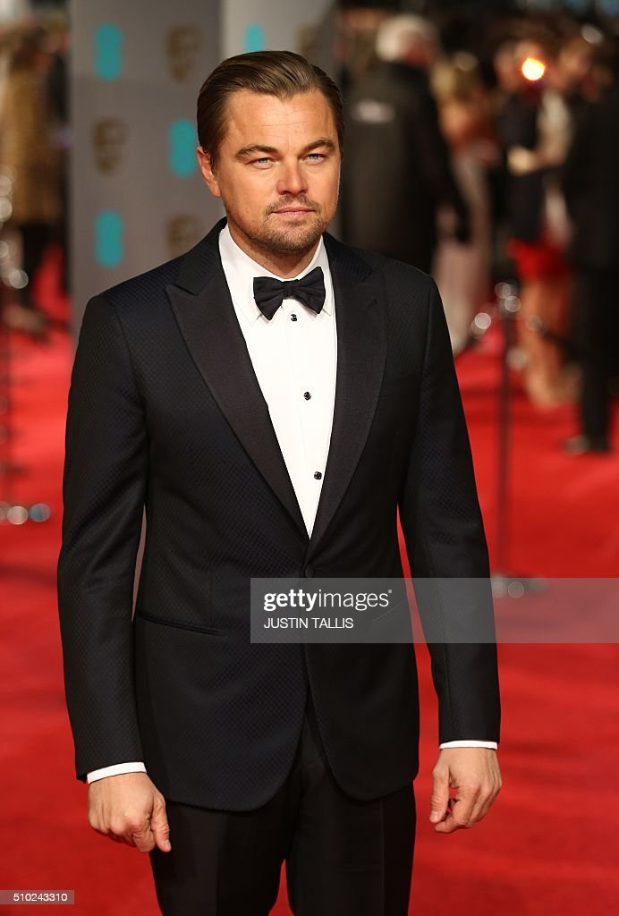 US actor Leonardo DiCaprio poses on arrival for the BAFTA British Academy Film Awards at the Royal Opera House in London on February 14, 2016. TALLIS