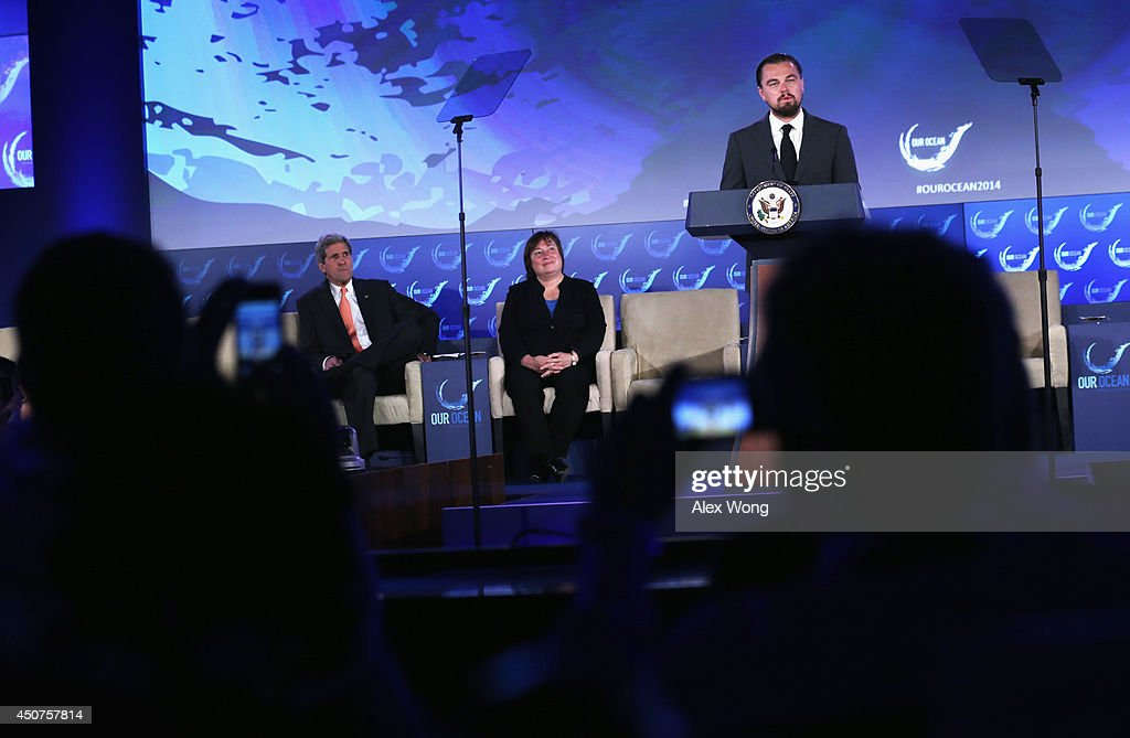 Actor <a gi-track='captionPersonalityLinkClicked' href=/galleries/search?phrase=Leonardo+DiCaprio&family=editorial&specificpeople=201635 ng-click='$event.stopPropagation()'>Leonardo DiCaprio</a> (R) speaks as U.S. Secretary of State <a gi-track='captionPersonalityLinkClicked' href=/galleries/search?phrase=John+Kerry&family=editorial&specificpeople=154885 ng-click='$event.stopPropagation()'>John Kerry</a> (L) and Under Secretary Catherine Novelli (2nd L) listen during the second and the final day of the 'Our Ocean' conference June 17, 2014 at the State Department in Washington, DC. The two-day conference was focused on 'sustainable fisheries, marine pollution, and ocean acidification.'