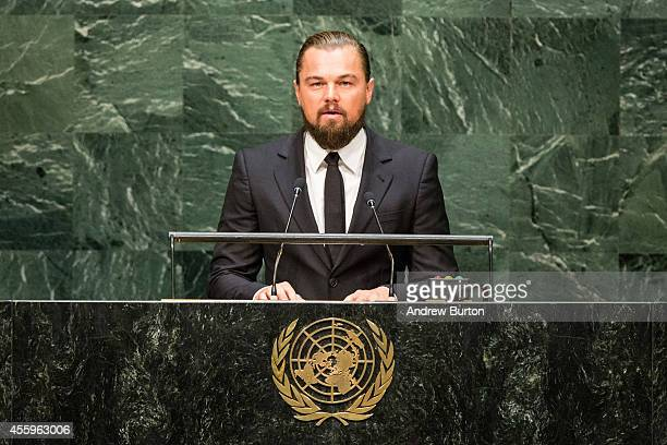 Actor Leonardo DiCaprio speaks at the United Nations Climate Summit on September 23 2014 in New York City The summit which is meeting one day before...