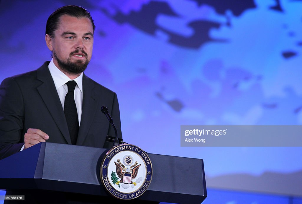 Actor <a gi-track='captionPersonalityLinkClicked' href=/galleries/search?phrase=Leonardo+DiCaprio&family=editorial&specificpeople=201635 ng-click='$event.stopPropagation()'>Leonardo DiCaprio</a> speaks during the second and the final day of the 'Our Ocean' conference June 17, 2014 at the State Department in Washington, DC. The two-day conference was focused on 'sustainable fisheries, marine pollution, and ocean acidification.'