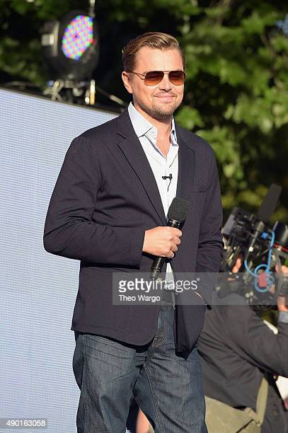 Actor Leonardo DiCaprio speaks on stage at the 2015 Global Citizen Festival to end extreme poverty by 2030 in Central Park on September 26 2015 in...