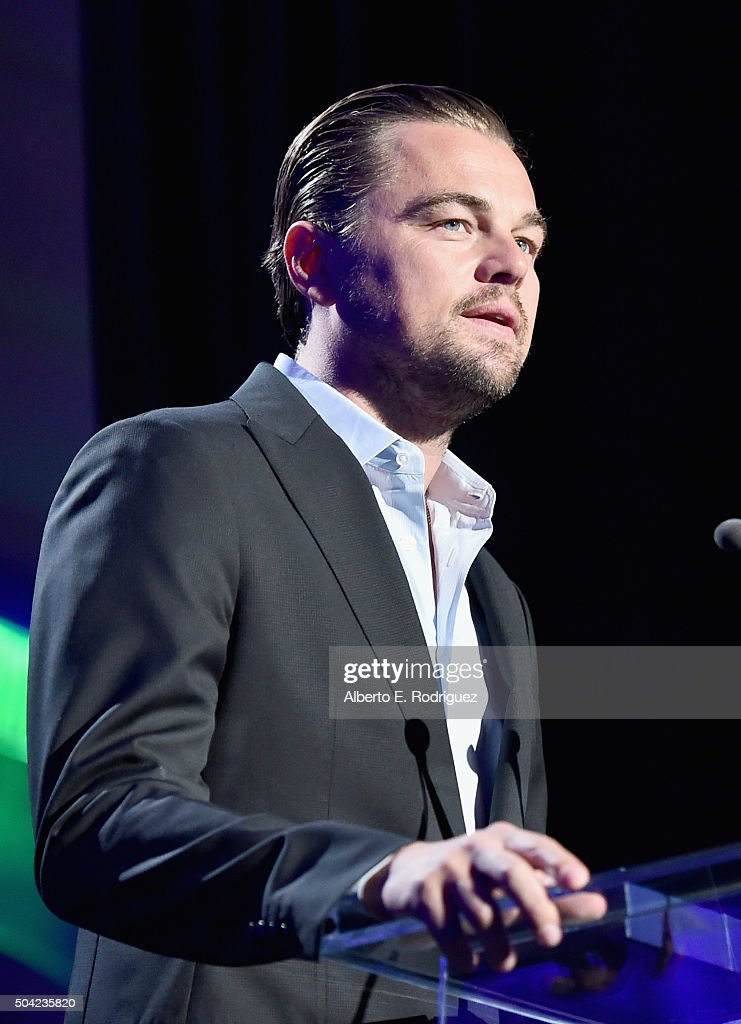 Actor Leonardo DiCaprio speaks onstage during the 5th Annual Sean Penn & Friends HELP HAITI HOME Gala Benefiting J/P Haitian Relief Organization at Montage Hotel on January 9, 2016 in Beverly Hills, California.