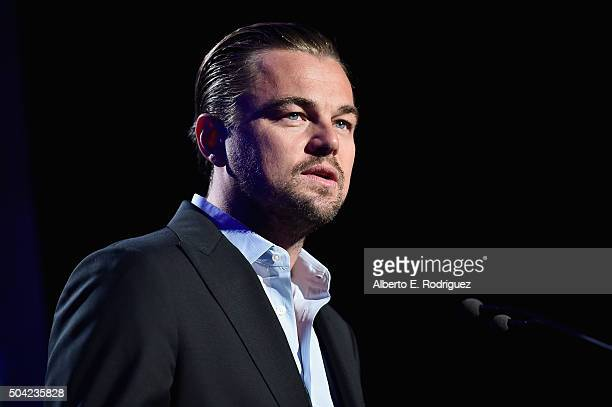Actor Leonardo DiCaprio speaks onstage during the 5th Annual Sean Penn Friends HELP HAITI HOME Gala Benefiting J/P Haitian Relief Organization at...