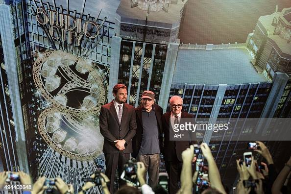 US actor Leonardo DiCaprio US actor Robert De Niro and US film director Martin Scorsese pose during a press conference ahead of the opening of the...