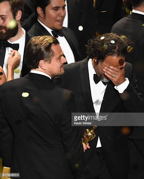 Actor Leonardo DiCaprio winner of Best Actor for 'The Revenant' and director Alejandro Gonzalez Inarritu winner of Best Director for 'The Revenant'...