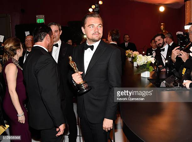 Actor Leonardo DiCaprio winner of Best Actor for 'The Revenant' backstage at the 88th Annual Academy Awards Governors Ball at Hollywood Highland...