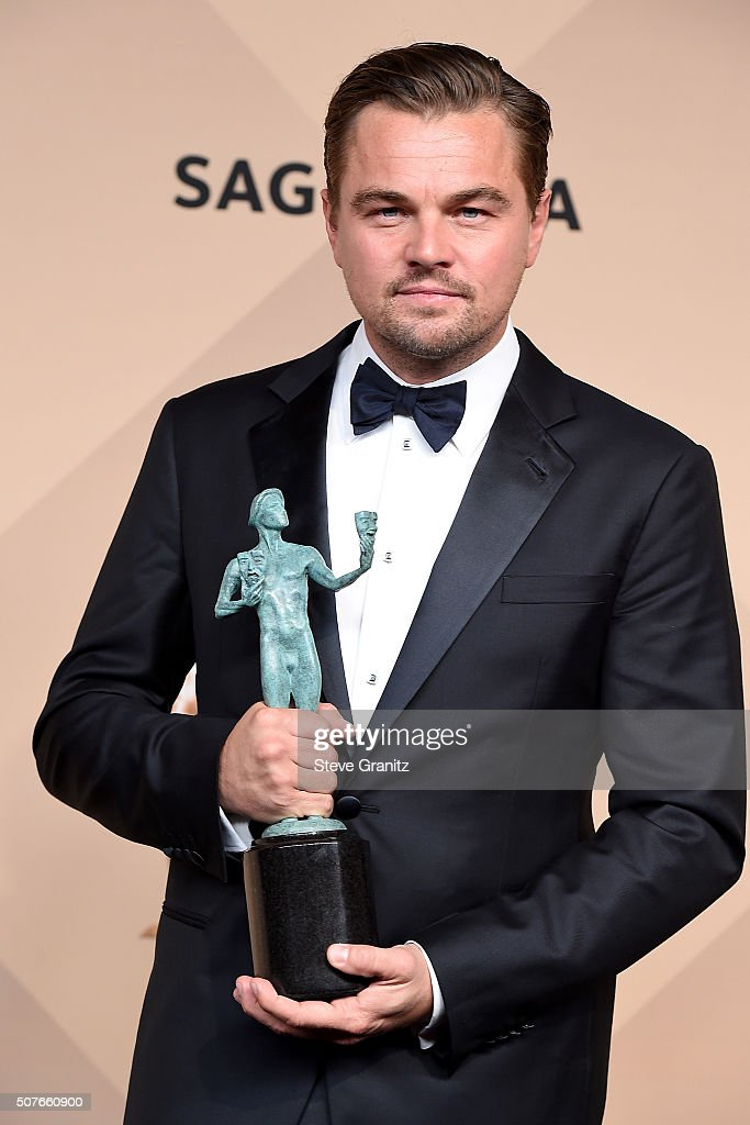 Actor Leonardo DiCaprio winner of Outstanding Performance by a Male Actor in a Leading Role for 'The Revenant' poses in the press room during the...