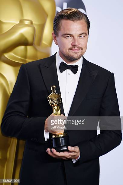 Actor Leonardo DiCaprio winner of the award for Best Actor in a Leading Role for 'The Revenant' poses in the press room during the 88th Annual...