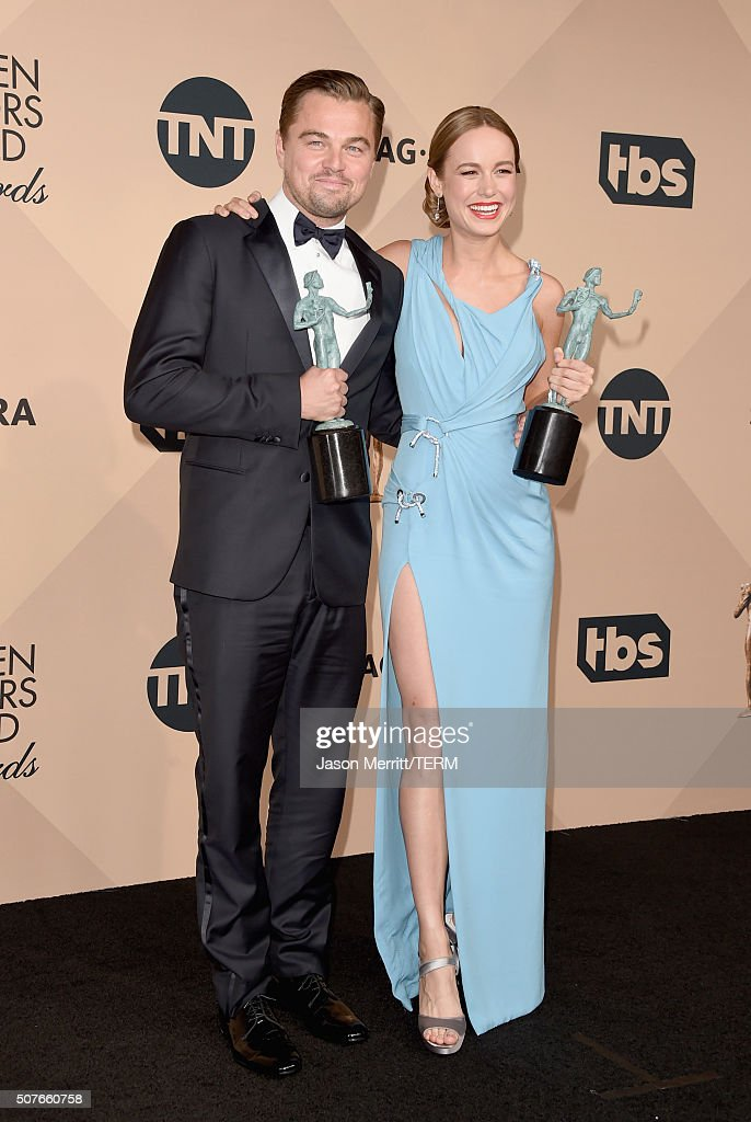 Actor Leonardo DiCaprio winner of the award for Outstanding Performance by a Male Actor in a Leading Role for 'The Revenant' and actress Brie Larson...