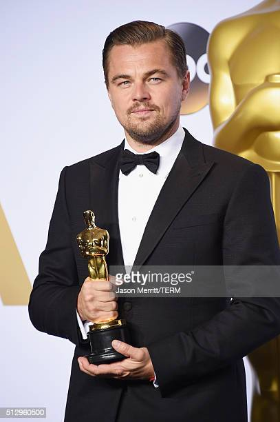 Actor Leonardo DiCaprio winner of the Best Actor award for 'The Revenant' poses backstage at the 88th Annual Academy Awards Governors Ball at...