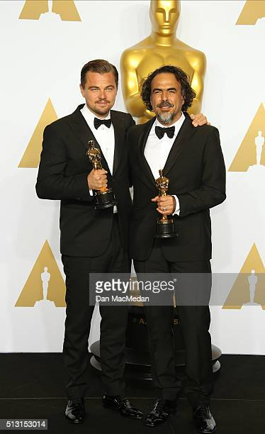 Actor Leonardo DiCaprio winner of the Best Actor in a Leading Role award for 'The Revenant' and director Alejandro G Inarritu winner of the Best...